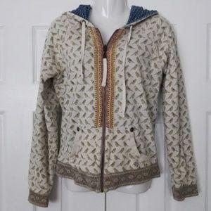 Billabong tan & cream full zip bird hoodie size LG